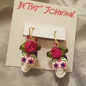 Betsey Johnson scull earrings NEW ON CARD